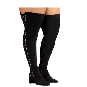 Jeffrey Campbell Plus Size Black High Thigh Boots